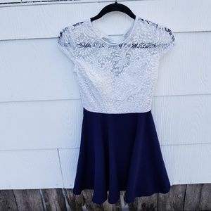 B. Darlin white and Navy Lace Dress